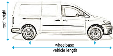 Volkswagen Caddy 2010 to 2015 - LWB Maxi - L2, low roof - H1, twin doors